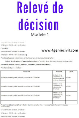 relevé de décision modèle word 1