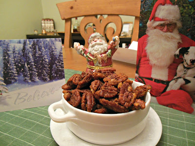 Savory Salty and a little bit Sweet Pan Roasted Pecans, lots of spice, not too much sugar.