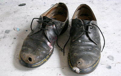 Black Dusty Worn Out Dress Shoes