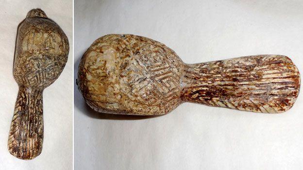 Swastika engraved on Mammoth tusk bird figurine found in Mezin, Ukraine - http://ichef.bbci.co.uk/news/624/media/images/78456000/jpg/_78456827_mezin_bird624.jpg