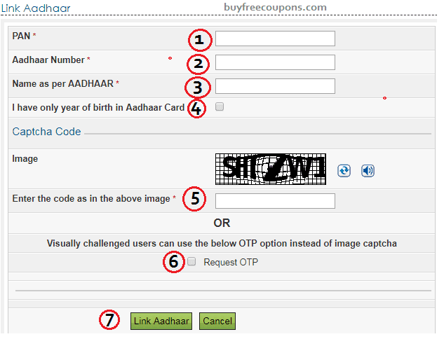aadhaar card link to pan card form