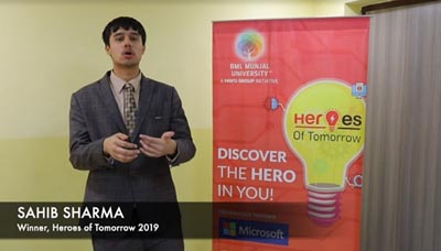 Sahib Sharma, winner of 'Heroes of Tomorrow'