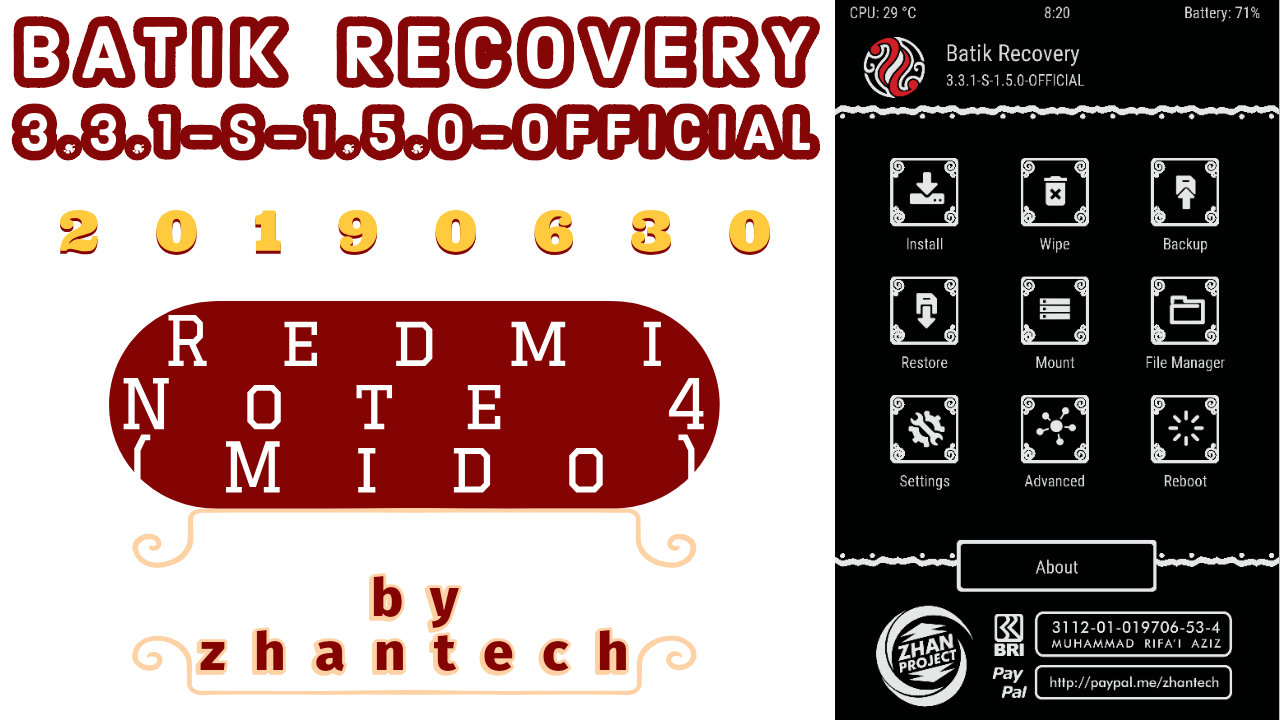 Latest Official Batik Recovery for Redmi Note 4 (mido)