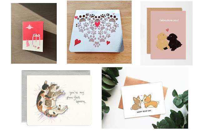 A selection of Valentine's cards for people who love dogs and cats. An artisan guide to Valentines gifts.