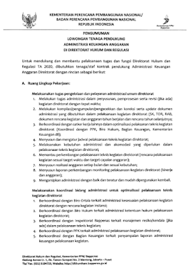Lowongan Kerja Kementrian Perencanaan Pembangunan Bappenas Tahun 2020