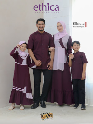 Koleksi Sarimbit Keluarga Ethica lebaran 2021 Terbaru Elfa 212 Plum Perfect