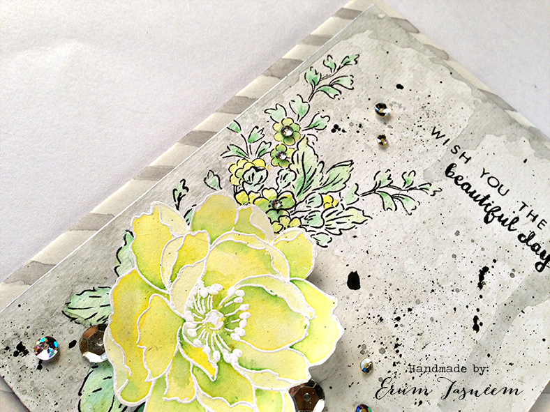 Altenew Beautiful Day stamp watercolored using distress inks