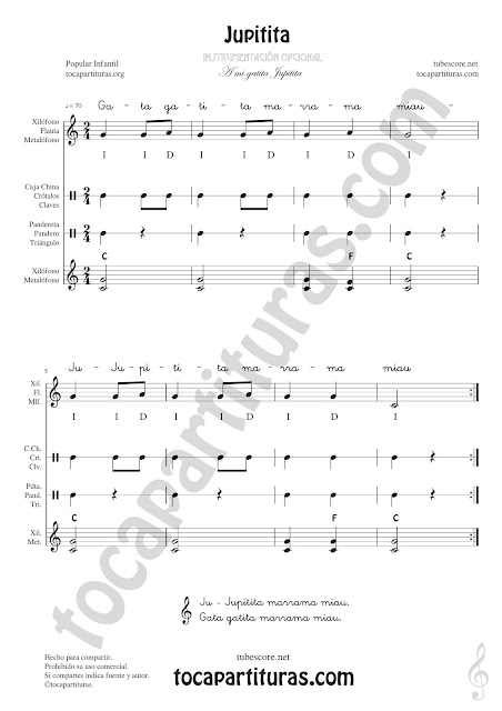 Jupitita Partitura de Pequeña Percusión y Flauta. Metalófono o Xilófono, Carrillón, Caja China, Crótalos, Claves, Pandereta, Panderos, Triángulo... con Acordes de Acompañamiento y letra Easy Sheet Music for Xylophone, Flute & Recorder, Tambourine, Crotales, Triangle, Antique cymbals, Wood blocks, Maraca and Percussions Instruments
