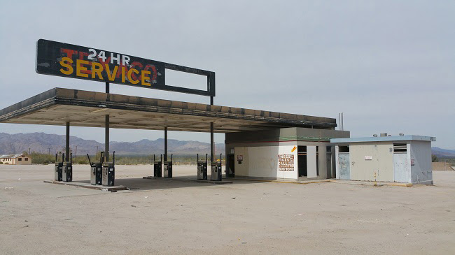 Abandoned Texaco Gas Station in Desert Center California Ghost Town