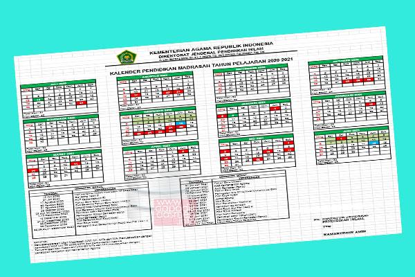 Kalender Pendidikan RA (Raudlatul Athfal) dan Madrasah Tahun 2020-2021 Berdasarkan Surat Keputusan Dirjen Pendis Nomor 2491 Tahun 2020