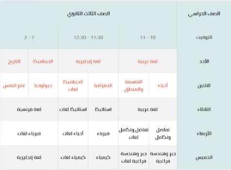 جدول مواعيد البث المباشر لشهادات التعليم الاساسى