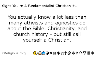 Signs you're a fundamentalist Christian card