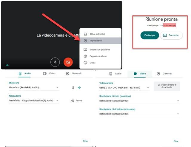 selezionare i dispositivi audio e video da usare per la videoconferenza
