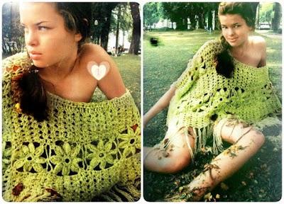 Poncho flores crochet instrucciones más revista