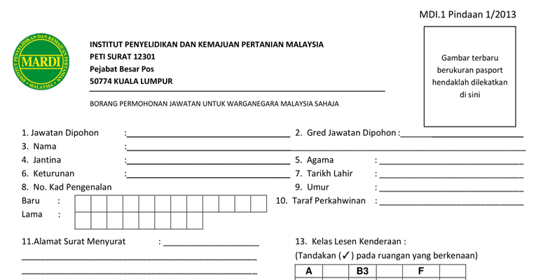 Jawatan Kosong di Institut Penyelidikan Dan Kemajuan Pertanian Malaysia (MARDI)