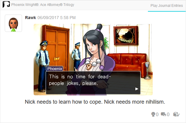 Mia Dead People Jokes Phoenix Wright Ace Attorney Trilogy 3DS Miiverse Capcom Nintendo