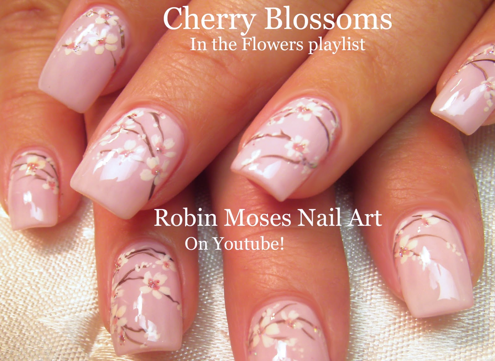 Nail Art by Robin Moses: Cherry Blossom on Blush Nude Polish ...