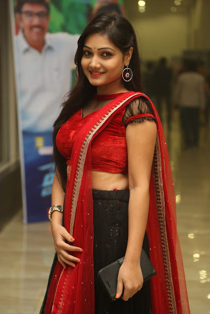 Priyanka New Actress Spotted in Red Choli Black Ghagra at Hyper Movie Trailer Launch