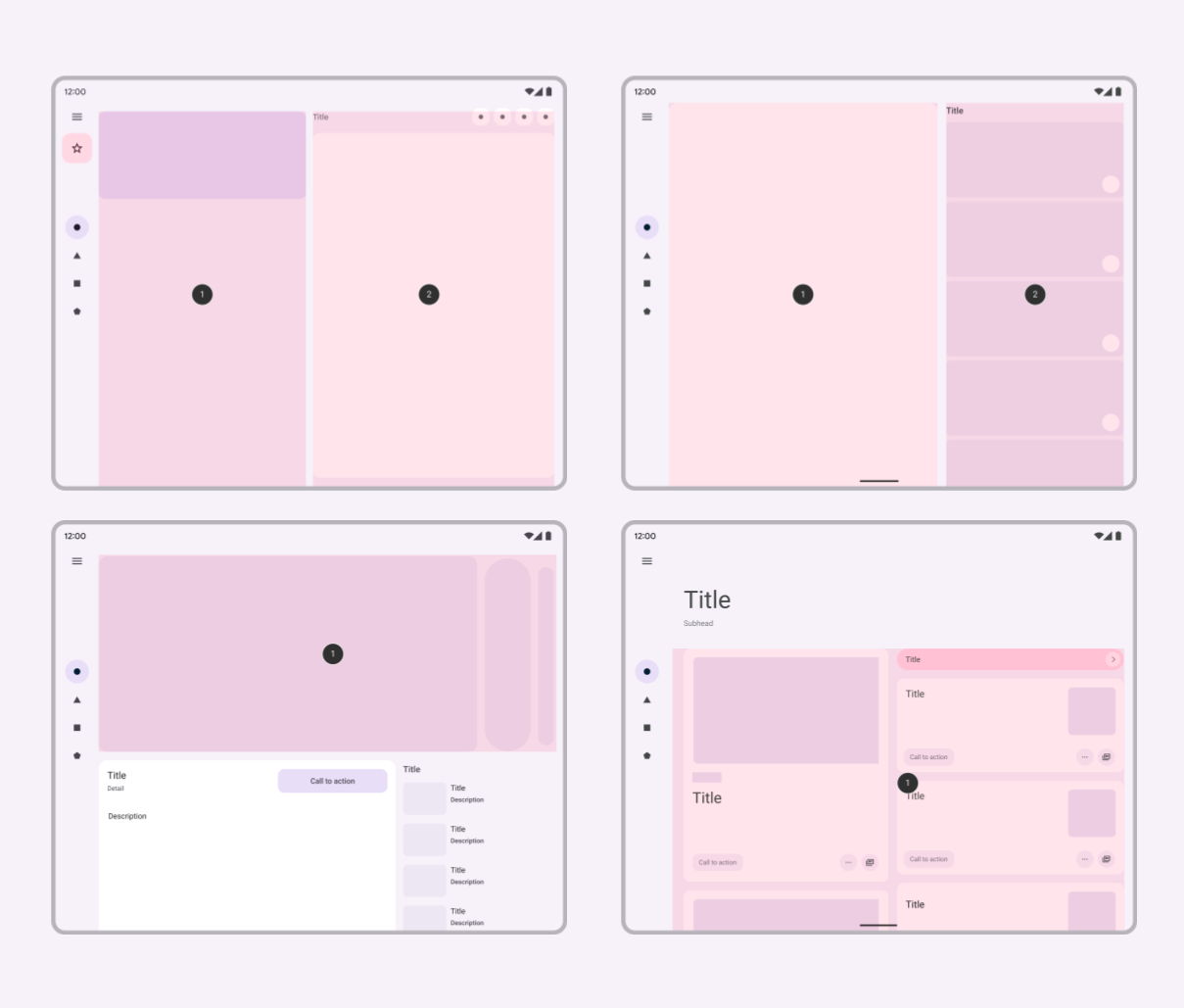 Image shows four Adaptive UI patterns in the Material Design guidelines