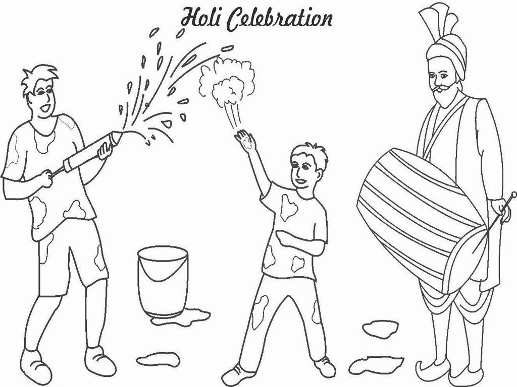 happy holi coloring images for drawing