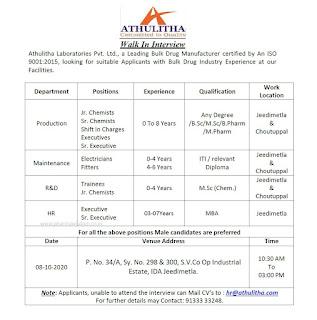 ITI, Diploma, Any Degree, B.Sc,M.Sc, B.Pharm, M.Pharm Job vacancy Walk In For Athulitha Laboratories Pvt Ltd.,