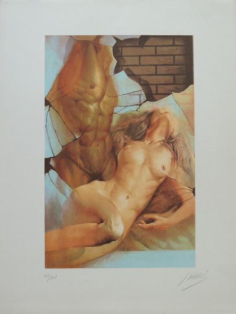 José Marí Llobet litografía surrealista desnudo erotico