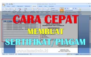 cara cepat membuat sertifikat piagam mailings