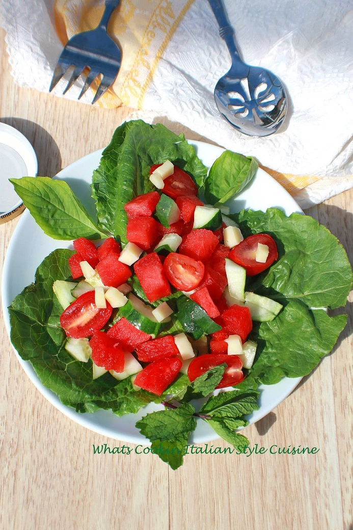 this is a watermelon basil salad