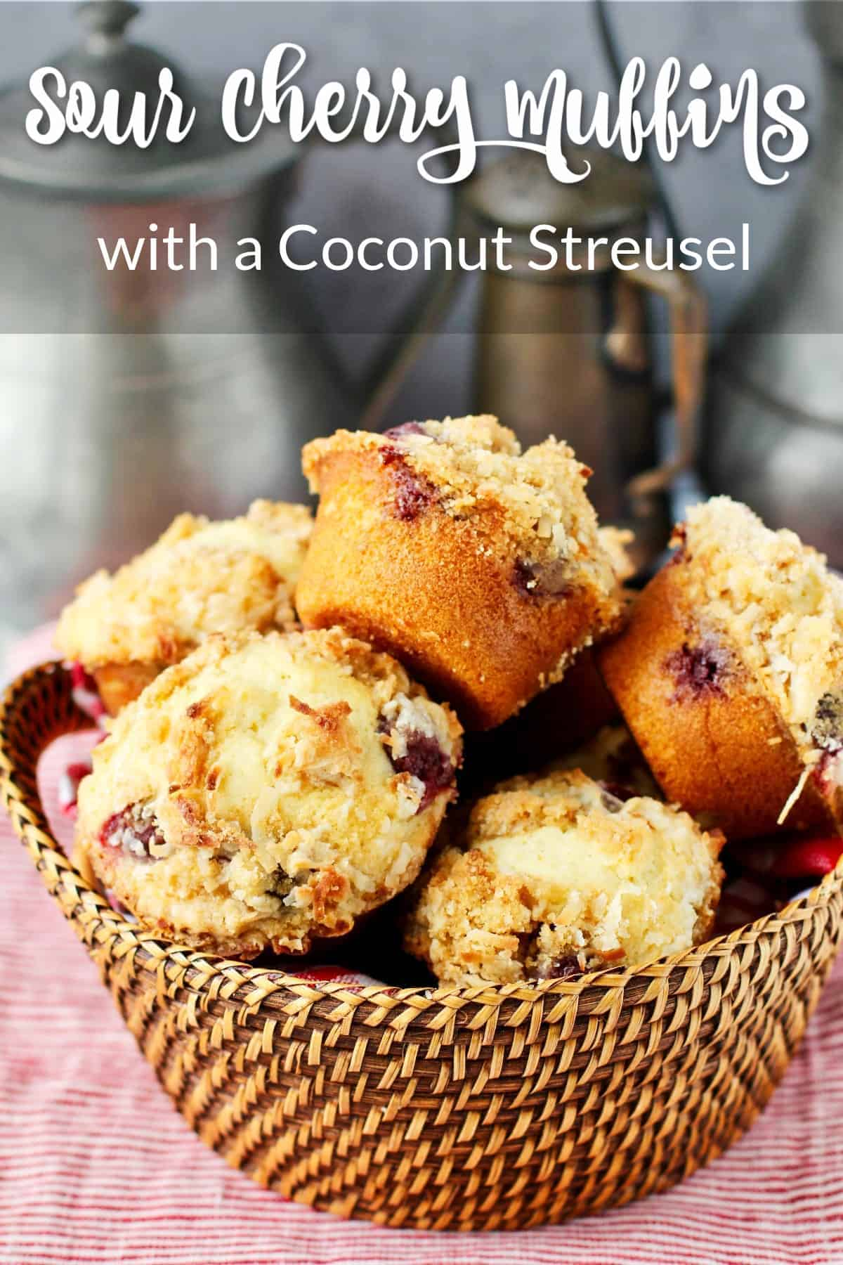 Sour Cherry Muffins with Coconut Streusel
