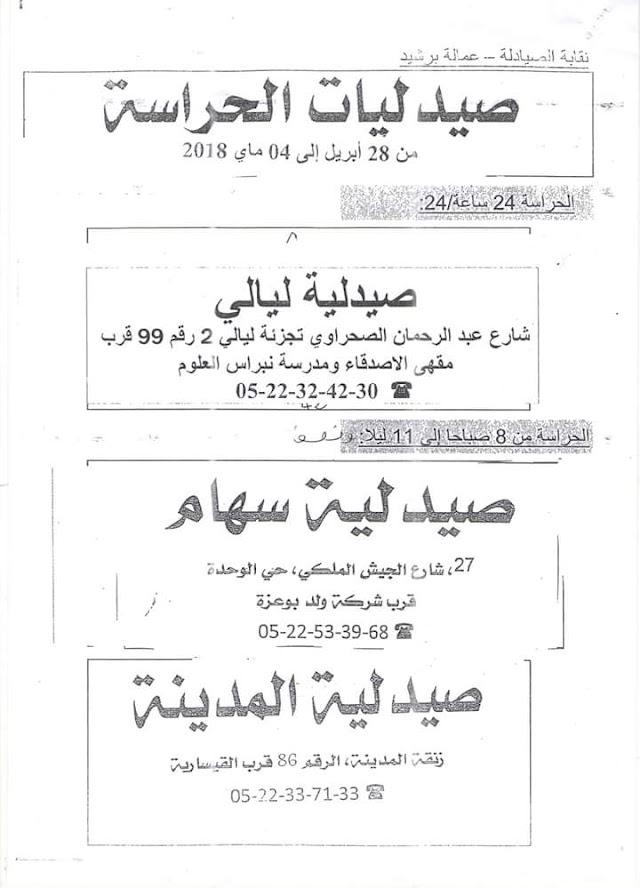 صيدلية الحراسة لهذا الأسبوع ببرشيد : من 28 أبريل إلى 04 ماي2018