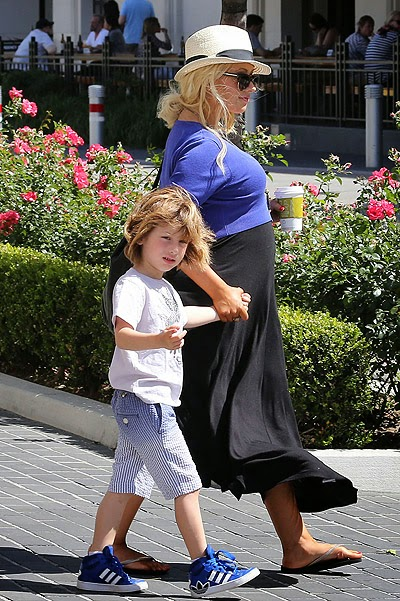 Christina Aguilera with her son