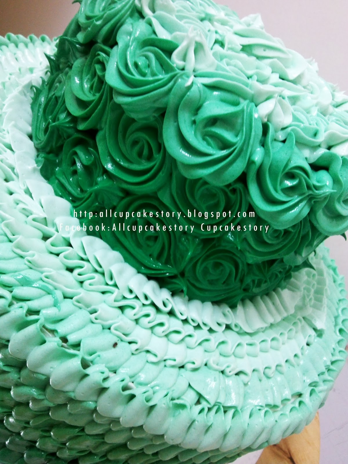 Allcupcakestory Ombre Emerald Green Wedding Cake