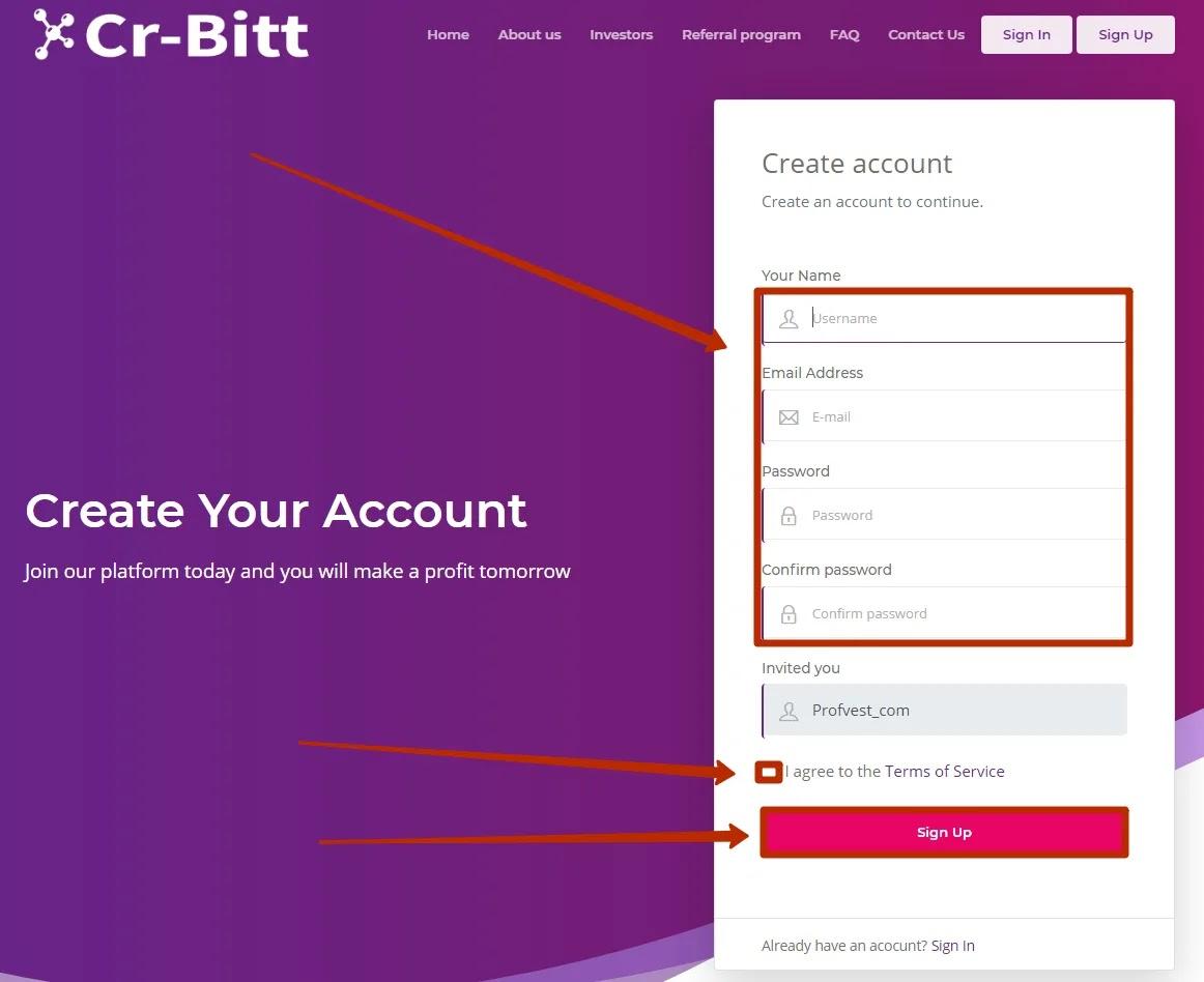 Регистрация в Cr-Bitt 2
