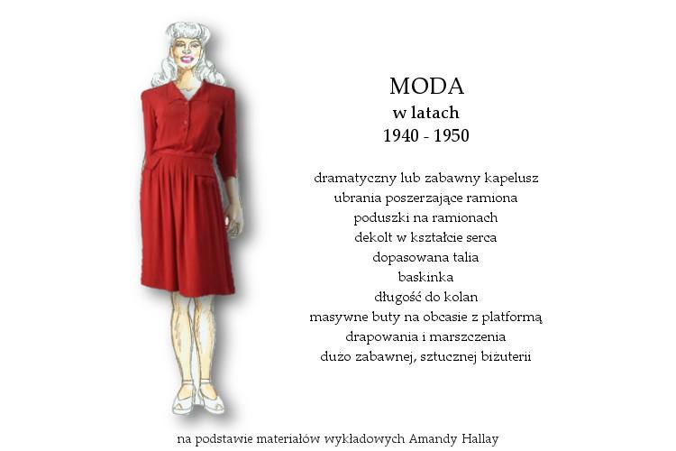Agnieszka Sajdak-Nowicka moda w latach czterdziestych 1940 - 1950 na podstawie materiałów wykładowych Amandy Hallay