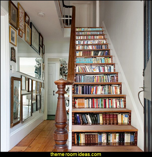 Book Case Wall Mural for Stairs   book themed decor - Bibliophiles decor - Book themed furnishings - home decor for book lovers - book themed bedroom - Stacked Books decor - Stacked Books furniture - bookworm decor - book boxes - library furniture - formal study furniture - antique book decor - unique furniture - novelty furniture - Logophile decor - scrabble themed bedroom  - scrabble wall decorations - Crossword bedroom decor