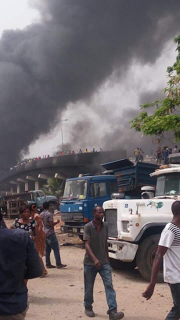 BREAKING: Tanker explodes at Festac link bridge Lagos, Many cars burnt [PHOTOS]