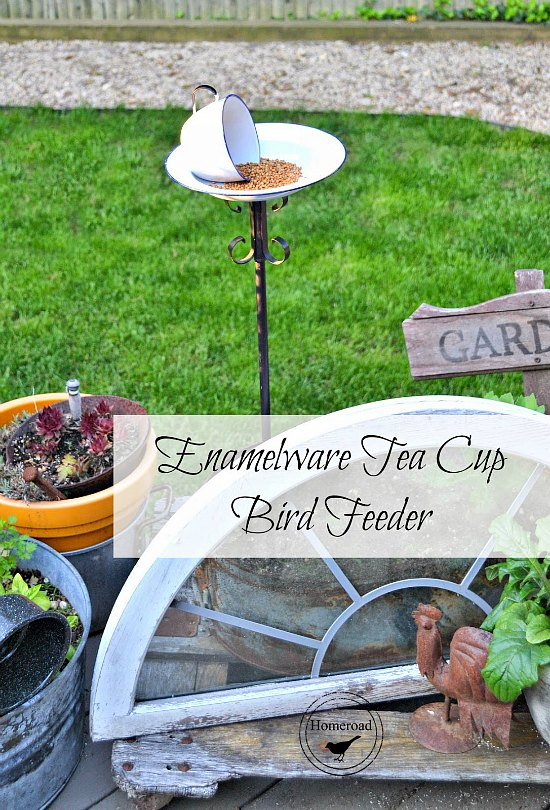 How to make a bird feeder with enamelware