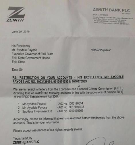 Ayodele Fayose Letter
