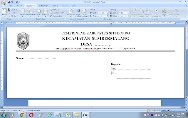 Cara print kop amplop surat dari Ms. Word