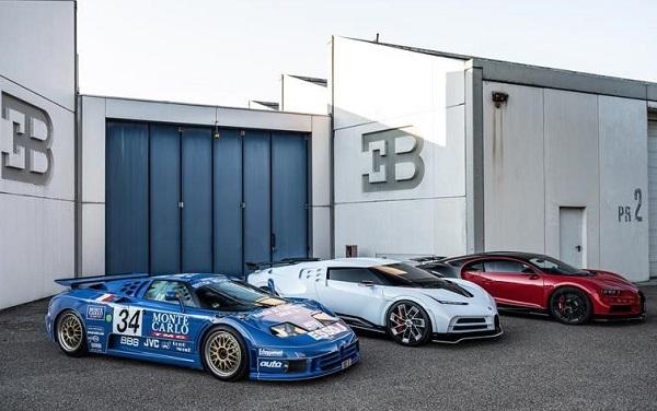 Bugatti EB110 SS, Bugatti Centodieci y Bugatti Chiron Sport