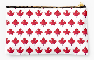 Red Watercolour Canadian Maple Leaf Pattern
