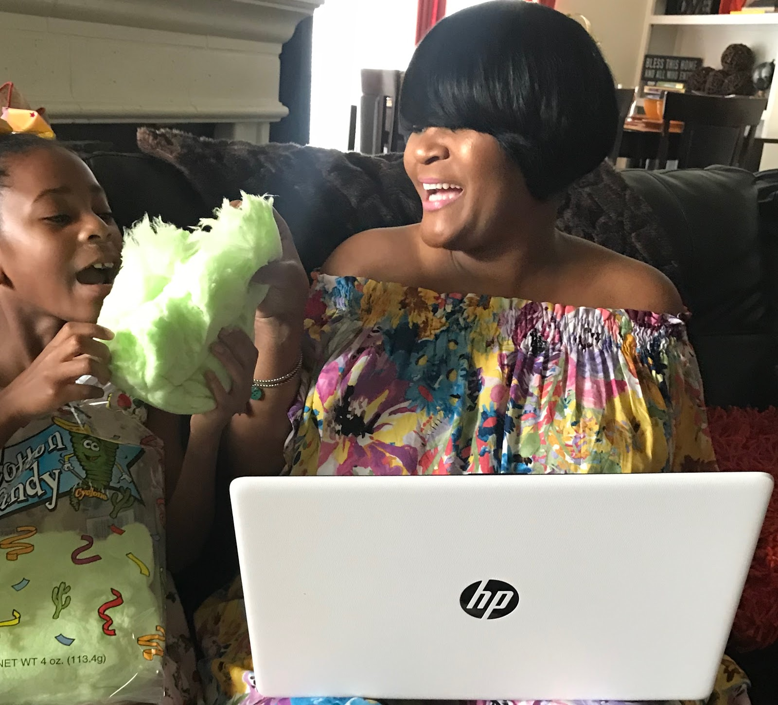 Image: Woman laughing with daughter Moriah over the weekend bits and favorites