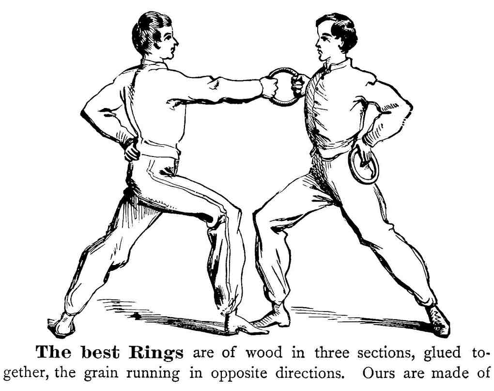 wooden 1879 exercise rings, a catalog illustration