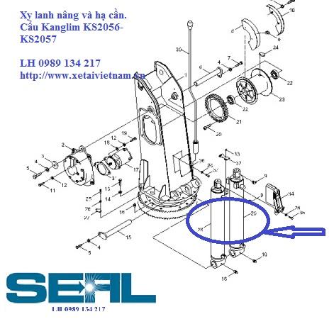 Xy lanh nâng và hạ cần cẩu Kanglim KS2056-KS2057-H1114093-H1114079