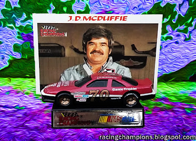 J.D. McDuffie #70 Racing Champions 1/64 NASCAR diecast blog die Rumple Classic Trophies Son's Watkins Glen