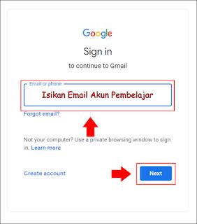 isi email akun pembelajaran