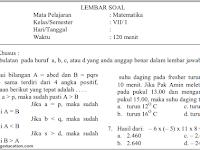 Soal Lat PAS/ UAS Metamatika Kelas 7 K 13 Semester 1 Th. 2018
