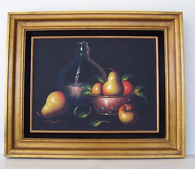 Chianti Bottle with Fruit Acrylic Painting