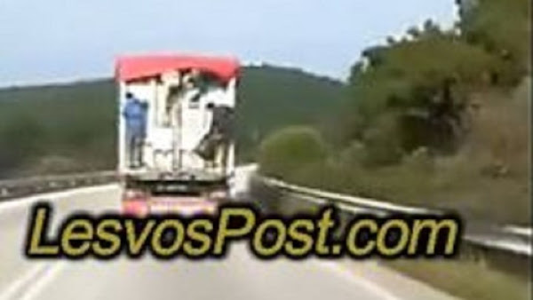 Λέσβος: Μετανάστες «Ξεπηδούν» Από Εν Κινήσει Φορτηγό - ΒΙΝΤΕΟ
