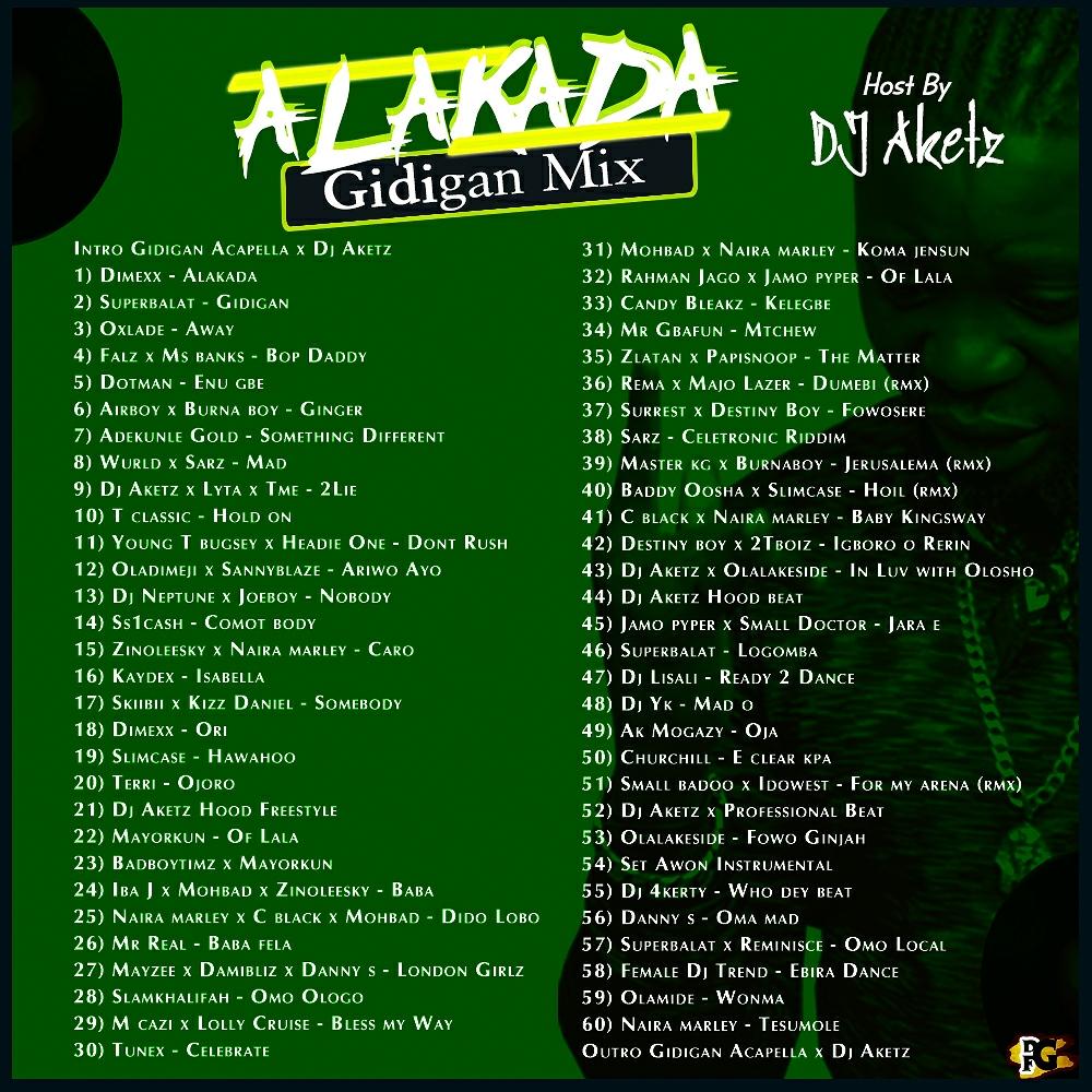 MIXTAPE : DJ AKETZ - ALAKADA GIDIGAN MIX